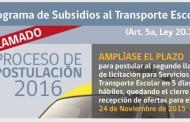 Se amplía el plazo para la licitación Subsidio al Transporte Escolar